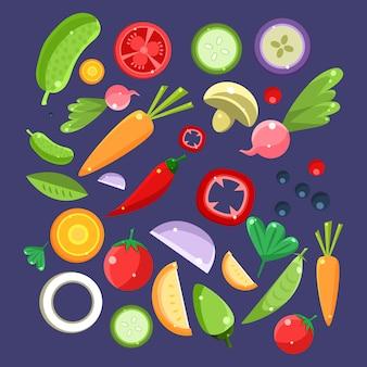 Collection d'ingrédients de salade de légumes
