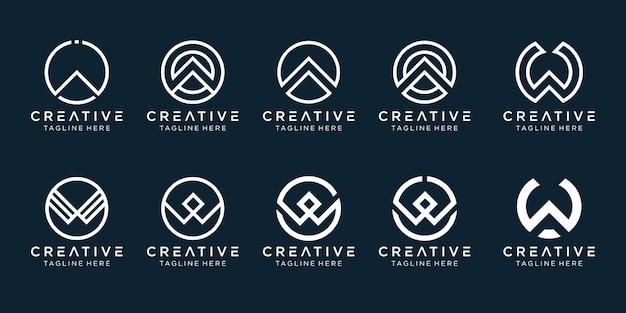 Collection initiales w cercle icônes de modèle de logo pour les entreprises de mode simple