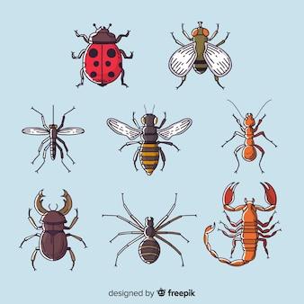 Collection d'insectes colorés dessinés à la main
