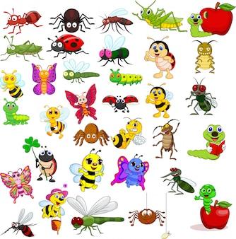 Collection d'insectes de dessin animé