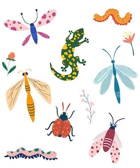 Collection d'insectes différents dessin à la main chenille et ver de libellule de punaise de papillon
