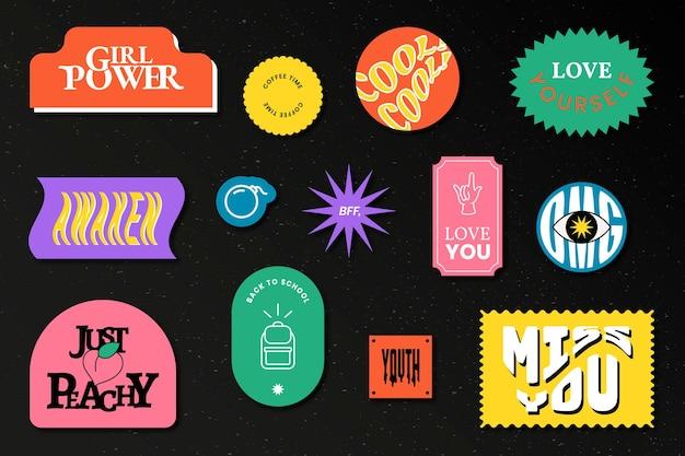 Collection d'insigne d'autocollant de mot vintage