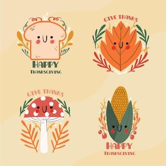 Collection d'insigne de thanksgiving dessiné à la main