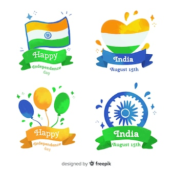 Collection d'insignes aquarelle inde fête de l'indépendance
