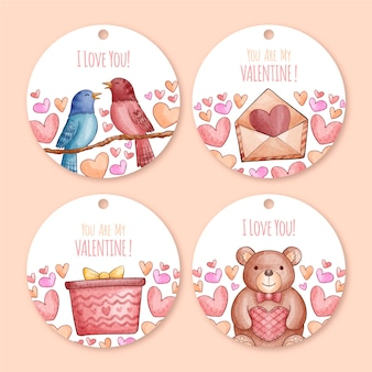 Collection d'insignes aquarelle saint valentin