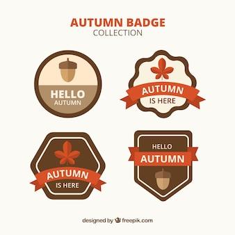 Collection d'insignes automne dessinés à la main