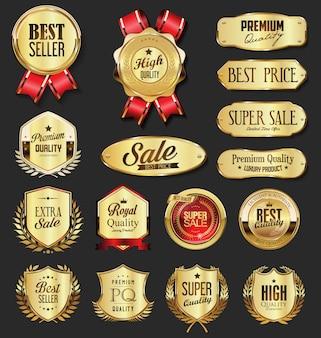 Collection d'insignes et de boucliers de couronne de laurier doré vintage rétro