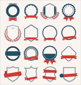 Collection d'insignes de boucliers plats et étiquettes style rétro
