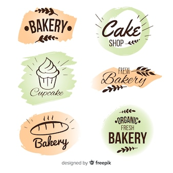 Collection d'insignes de boulangerie dessinés à la main
