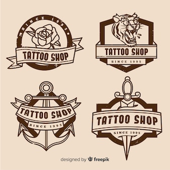 Collection d'insignes de boutique de tatouage