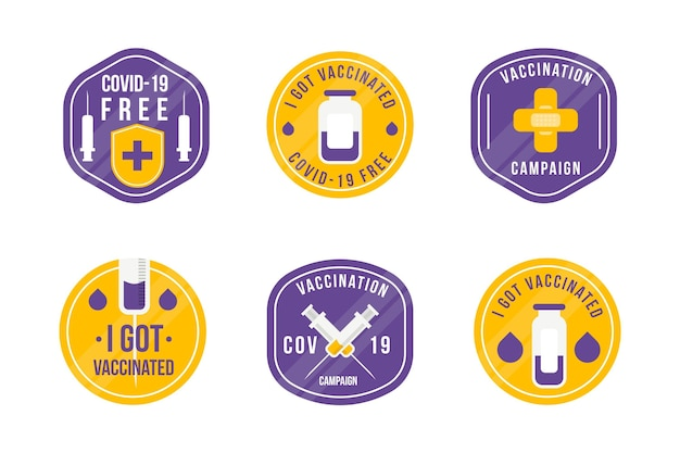 Collection d'insignes de campagne de vaccination à plat