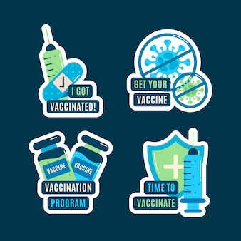 Collection d'insignes de campagne de vaccination à plat