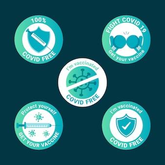 Collection d'insignes de campagne de vaccination plate biologique