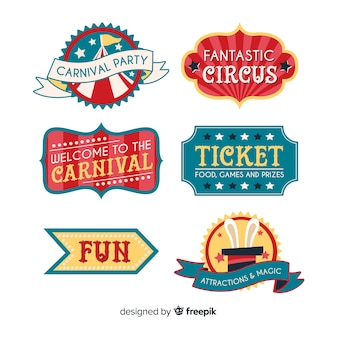 Collection d'insignes de carnaval de cirque