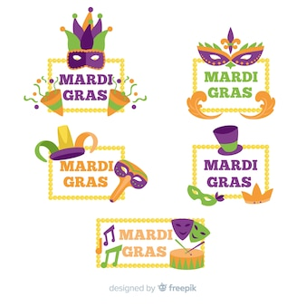 Collection d'insignes de carnaval mardi gras