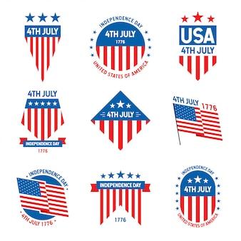 Collection d'insignes célébration du 4 juillet états-unis d'amérique
