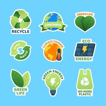 Collection d'insignes de changement climatique design plat