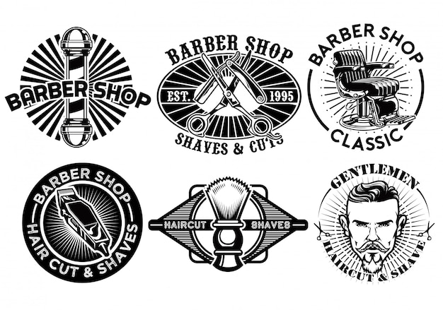 Collection d'insignes de coiffeur