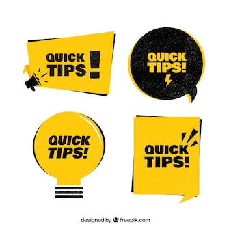 Collection d'insignes de conseils avec un design plat