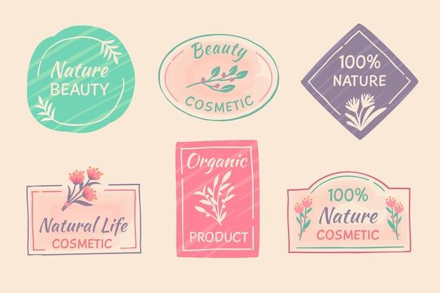 Collection d'insignes de cosmétiques nature