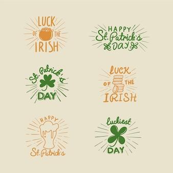 Collection d'insignes de design plat st patricks day