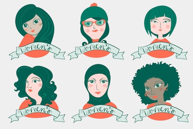 Collection d'insignes dessinés à la main avec la journée de la femme