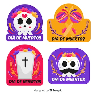 Collection d'insignes día de muertos design plat