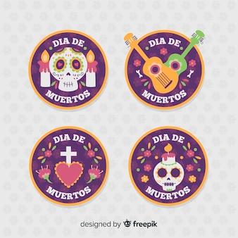 Collection d'insignes día de muertos design plat
