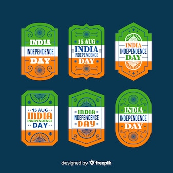Collection d'insignes du jour de l'indépendance de l'inde