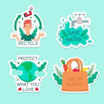 Collection d'insignes d'écologie dessinés à la main