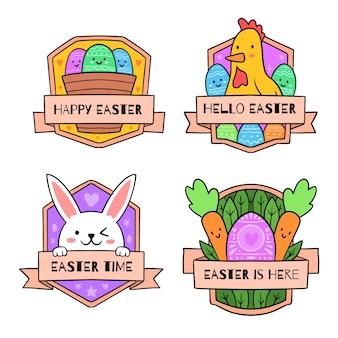 Collection d'insignes d'éléments traditionnels de pâques dessinés à la main