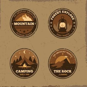 Collection d'insignes d'emblèmes rétro en plein air