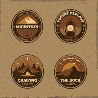 Collection d'insignes emblèmes rétro en plein air