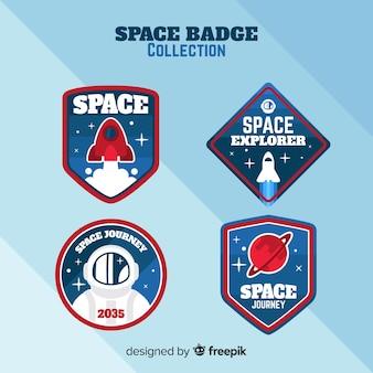 Collection d'insignes d'espace coloré avec un design plat