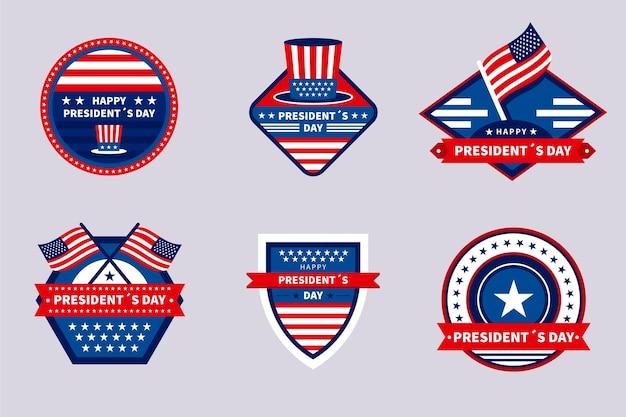 Collection d'insignes d'étiquettes du jour du président