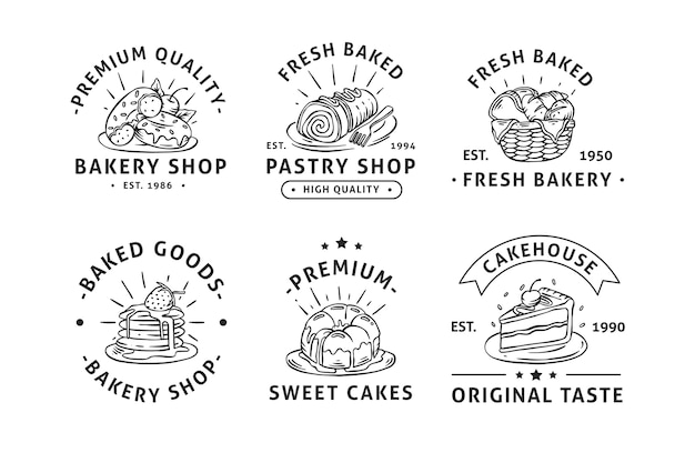 Collection d'insignes d'étiquettes de logo de boulangerie dessinés à la main