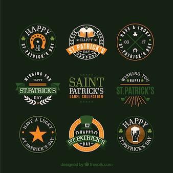 Collection d'insignes / d'étiquettes pour la saint-patrick