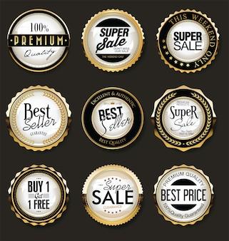 Collection d'insignes et d'étiquettes rétro or et noir