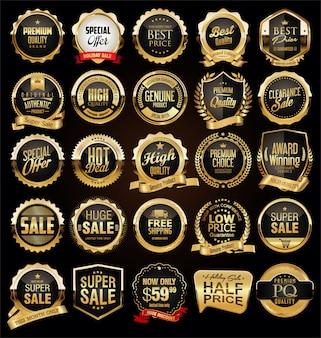 Collection d'insignes et d'étiquettes vintage rétro noires et dorées