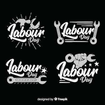 Collection d'insignes de la fête du travail dessinés à la main