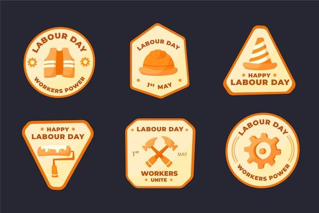 Collection d'insignes de fête du travail dessinés à la main
