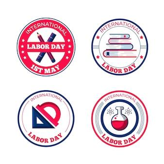 Collection d'insignes de fête du travail plat