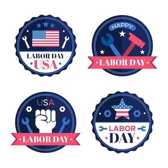 Collection d'insignes de la fête du travail usa design plat