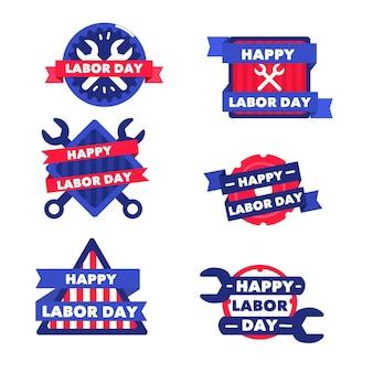 Collection d'insignes de la fête du travail usa dessinés à la main
