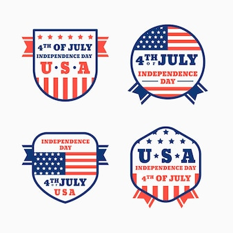 Collection d'insignes de fête de l'indépendance du 4 juillet à plat