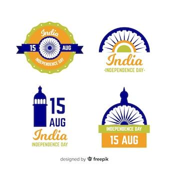 Collection d'insignes de la fête de l'indépendance de l'inde dessinés à la main