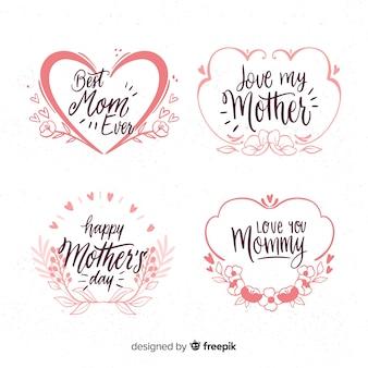 Collection d'insignes fête des mères cadres dessinés à la main