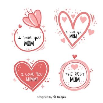 Collection d'insignes de fête des mères dessinés à la main coeurs et fleurs