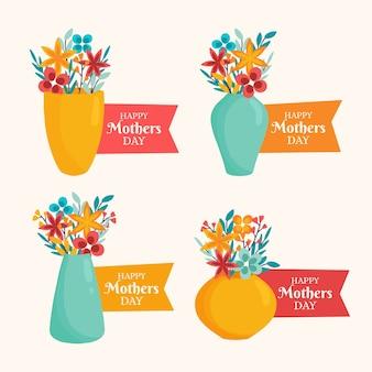 Collection d'insignes de fête des mères dessinés à la main
