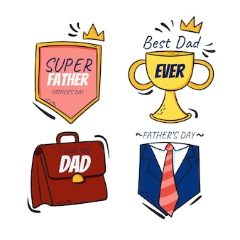 Collection d'insignes de fête des pères dessinés à la main d'été plat